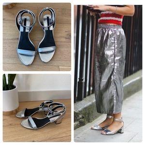 Zara Metallic Silver Ankle Block Heel Sandals 38